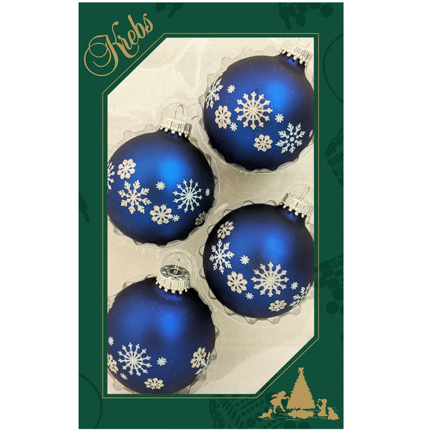 "2 5/8"" (67mm) Glass Ball Ornaments, Navy Velvet - Glitter and Snowflakes, 4/Box, 12/Case, 48 Pieces"
