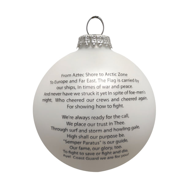 "3 1/4"" (80mm) Glass Ball Ornaments, White Satin - Silk Coast Guard Logo and Hymn, 1/Box, 12/Case, 12 Pieces"