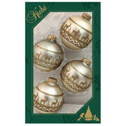 "2 5/8"" (67mm) Glass Ball Ornaments, Oyster Velvet - Glitter Sweater Band, 4/Box, 12/Case, 48 Pieces - Christmas by Krebs Wholesale"