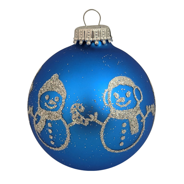"2 5/8"" (67mm) Glass Ball Ornaments, Classic Blue Velvet - Glitter Snowman Band, 4/Box, 12/Case, 48 Pieces"