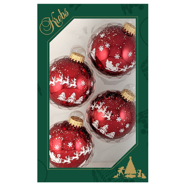 "2 5/8"" (67mm) Glass Ball Ornaments, Christmas Red - Glitter Christmas Eve, 4/Box, 12/Case, 48 Pieces"
