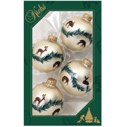 "2 5/8"" (67mm) Glass Ball Ornaments, Oyster Velvet - Glitter and Spritz, 4/Box, 12/Case, 48 Pieces"