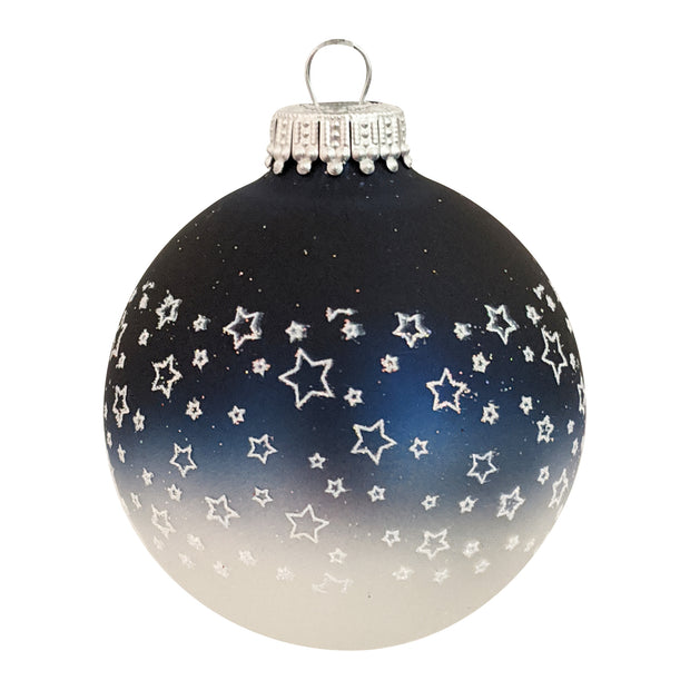 "2 5/8"" (67mm) Glass Ball Ornaments, Multicolored - Glitter Star Band, 4/Box, 12/Case, 48 Pieces - Christmas by Krebs Wholesale"