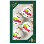 "2 5/8"" (67mm) Glass Ball Ornaments, Porcelain White - Red Vintage Truck, 4/Box, 12/Case, 48 Pieces - Christmas by Krebs Wholesale"