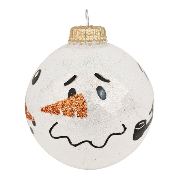 "2 5/8"" (67mm) Glass Ball Ornaments, Snow Sparkle - Snowman Faces, 4/Box, 12/Case, 48 Pieces - Christmas by Krebs Wholesale"
