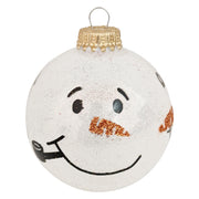"2 5/8"" (67mm) Glass Ball Ornaments, Snow Sparkle - Snowman Faces, 4/Box, 12/Case, 48 Pieces"