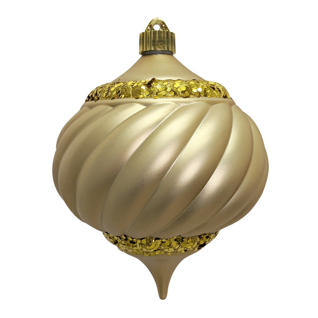 "6"" (150mm) Shatterproof Swirled Onion Finial Ornaments, Gold Dust, 1/Ea, 12/Case, 12 Pieces"