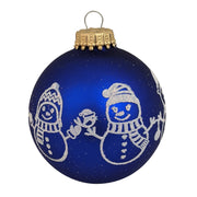 "2 5/8"" (67mm) Glass Ball Ornaments, Royal Velvet - Glitter Snowman Band, 4/Box, 12/Case, 48 Pieces"