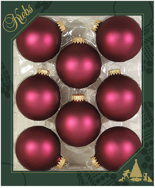 "2 5/8"" (67mm) Ball Ornaments, Gold Caps, Garnet Velvet, 8/Box, 12/Case, 96 Pieces - Christmas by Krebs Wholesale"
