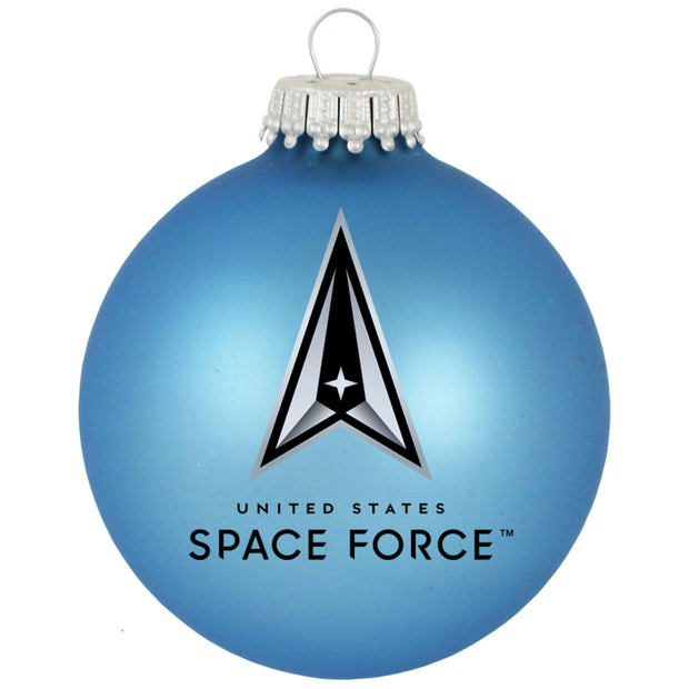 "3 1/4"" (80mm) Ball Military Ornaments, Space Force, Alpine Velvet, 1/Box, 12/Case, 12 Pieces - Christmas by Krebs Wholesale"