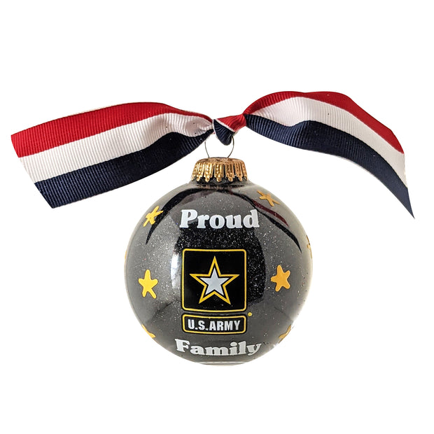 "3 1/4"" (80mm) Hugs Specialty Gift Ornaments, Proud Army Family, Black Glitter, 1/Box, 12/Case, 12 Pieces - Christmas by Krebs Wholesale"