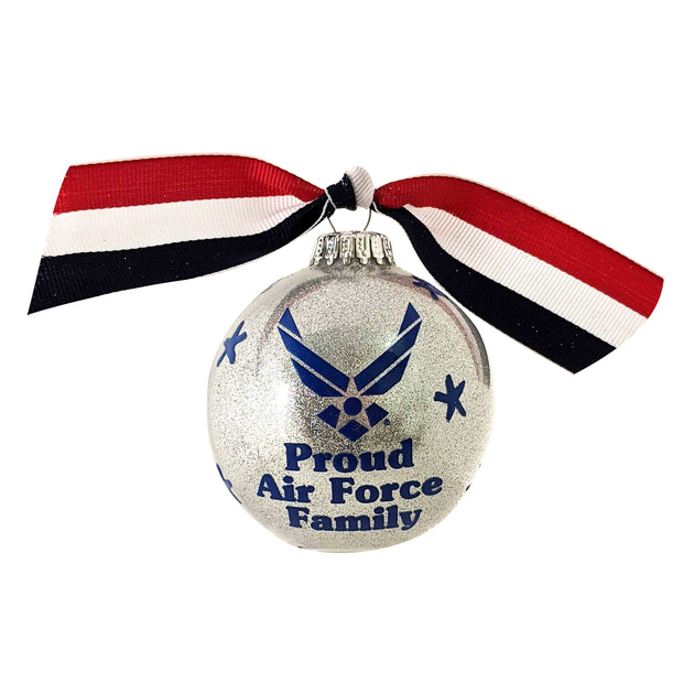 "3 1/4"" (80mm) Hugs Specialty Gift Ornaments, Proud Air Force Family, Silver Glitter, 1/Box, 12/Case, 12 Pieces - Christmas by Krebs Wholesale"