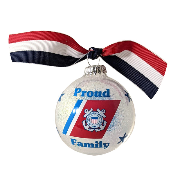 "3 1/4"" (80mm) Hugs Specialty Gift Ornaments, Proud Coast Guard Family, Snow Sparkle Glitter, 1/Box, 12/Case, 12 Pieces"