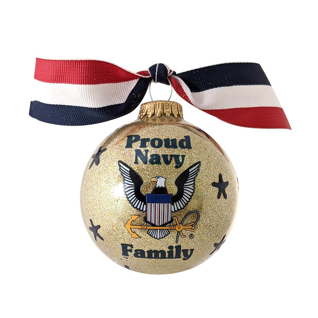 "3 1/4"" (80mm) Hugs Specialty Gift Ornaments, Proud Navy Family, Gold Glitter, 1/Box, 12/Case, 12 Pieces - Christmas by Krebs Wholesale"