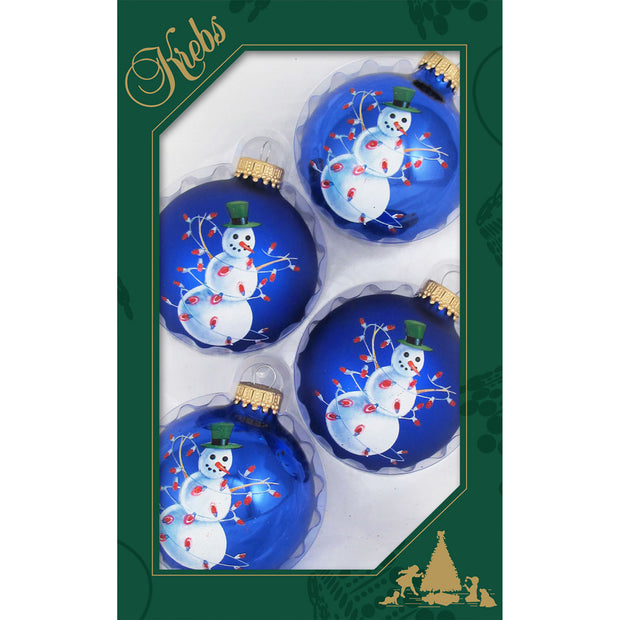 "2 5/8"" (67mm) Ball Ornaments, Snowman, Blue Multi, 4/Box, 12/Case, 48 Pieces"