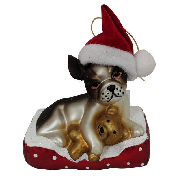 "4"" (100mm) Dog with Santa Hat and Teddy Bear Glass Figurine Ornaments, 1/Box, 6/Case, 6 Pieces"