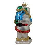 "5 1/2"" (140mm) Santa with Child Glass Figurine Ornaments, 1/Box, 6/Case, 6 Pieces"