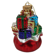 "4"" (100mm) Santa Bag Glass Figurine Ornaments, 1/Box, 6/Case, 6 Pieces - Christmas by Krebs Wholesale"