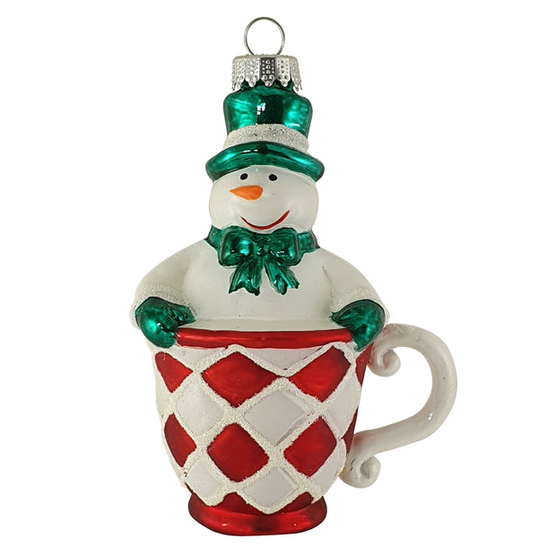 Snowman in Cup Figurine Ornaments, 1/Box, 6/Case, 6 Pieces - Christmas by Krebs Wholesale