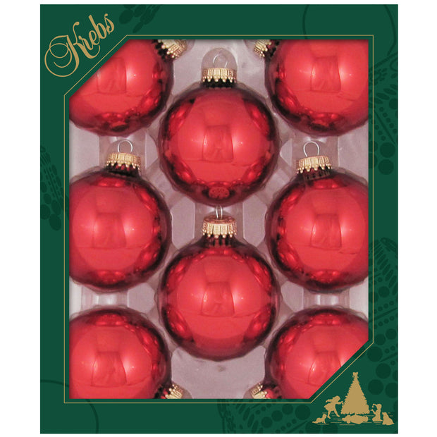 "2 5/8"" (67mm) Glass Ball Ornaments, Gold/Red/Green - Assortment Displayer, 8/Box, 12/Case, 96 Pieces"