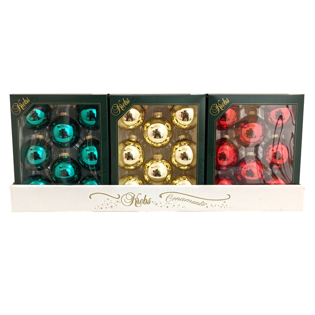 "2 5/8"" (67mm) Glass Ball Ornaments, Gold/Red/Green - Assortment Displayer, 8/Box, 12/Case, 96 Pieces - Christmas by Krebs Wholesale"