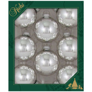 "2 5/8"" (67mm) Glass Ball Ornaments, Silver/Blue/White - Assortment Displayer, 8/Box, 12/Case, 96 Pieces - Christmas by Krebs Wholesale"