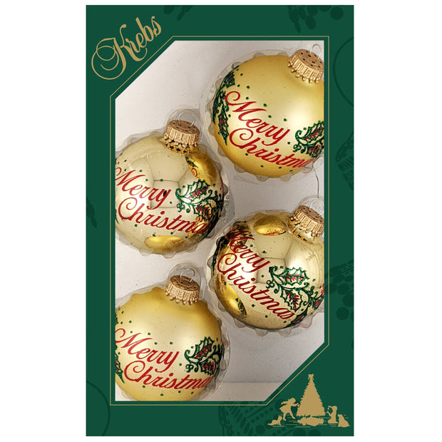"2 5/8"" (67mm) Glass Ball Ornaments, Aztec Gold / Gold Velvet Merry Christmas Design, 4/Box, 12/Case, 48 Pieces"