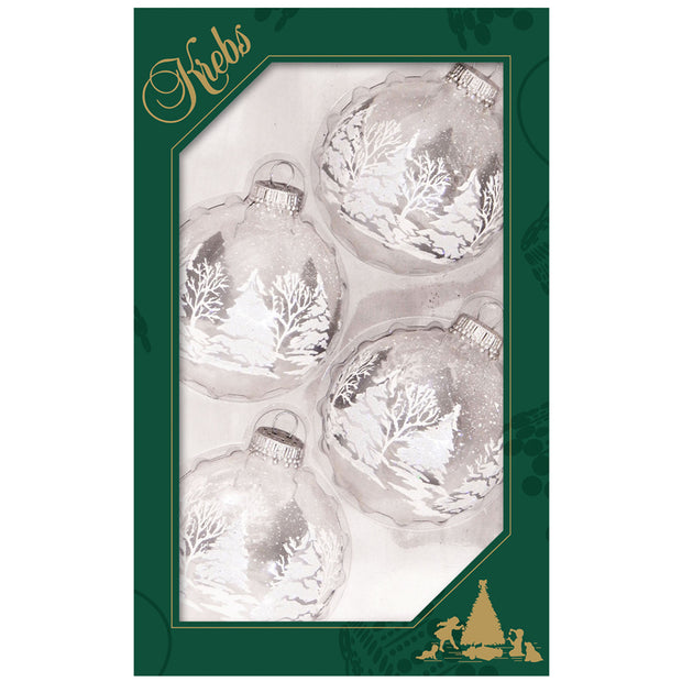 "2 5/8"" (67mm) Glass Ball Ornaments, Blue/Silver/White - Assortment Displayer, 4/Box, 12/Case, 48 Pieces - Christmas by Krebs Wholesale"