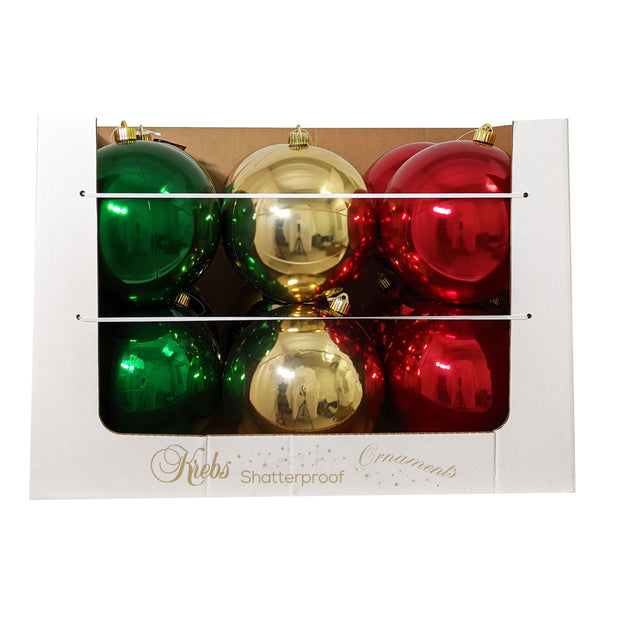 "8"" (200mm) Shatterproof Ball Ornament Assortment, Red/Green/Gold, 1/Ea, 12/Case, 12 Pieces"