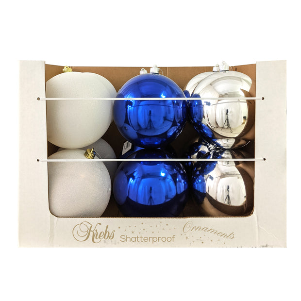 "8"" (200mm) Shatterproof Ball Ornament Assortment, Silver/White/Blue, 1/Ea, 12/Case, 12 Pieces"