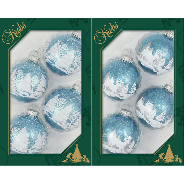 "2 5/8"" (67mm) Ball Ornaments, Deer Scene, Light Blue Sparkle, 4/Box, 12/Case, 48 Pieces - Christmas by Krebs Wholesale"