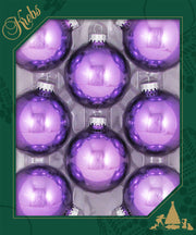 "2 5/8"" (67mm) Ball Ornaments, Silver Caps, Amethyst Shine, 8/Box, 12/Case, 96 Pieces"