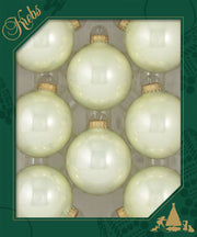 "2 5/8"" (67mm) Ball Ornaments, Gold Caps, Pearl Shine, 8/Box, 12/Case, 96 Pieces"