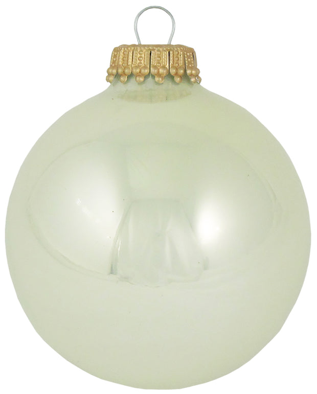 "2 5/8"" (67mm) Ball Ornaments, Gold Caps, Pearl Shine, 8/Box, 12/Case, 96 Pieces - Christmas by Krebs Wholesale"