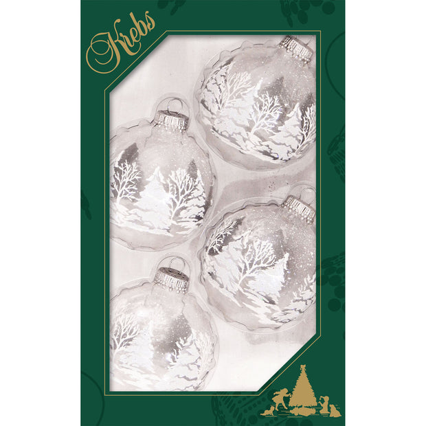 "2 5/8"" (67mm) Ball Ornaments, Festive Trees, Clear/Multi, 4/Box, 12/Case, 48 Pieces"