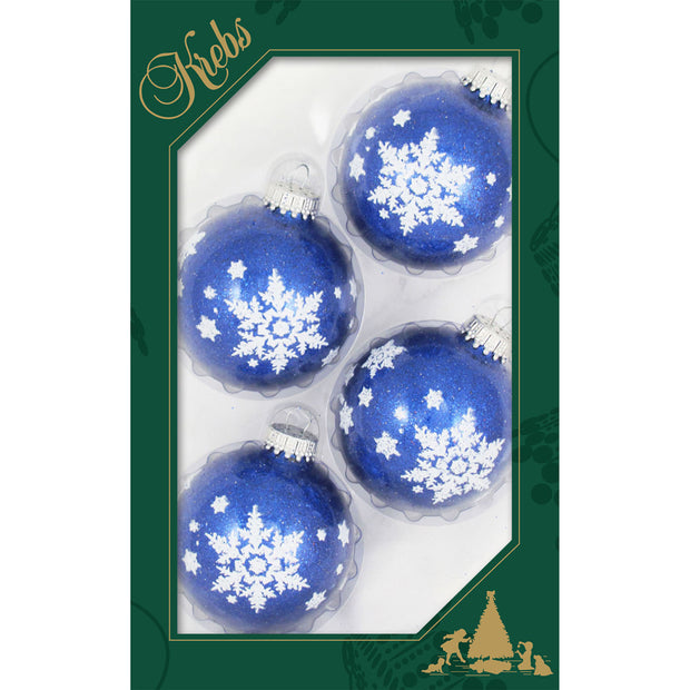 "2 5/8"" (67mm) Ball Ornaments, Snowflakes, Dark Blue Sparkle, 4/Box, 12/Case, 48 Pieces"