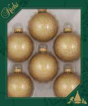 "2 5/8"" (67mm) Ball Ornaments, Gold Caps, Gold Sparkle, 6/Box, 12/Case, 72 Pieces"