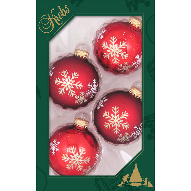 "2 5/8"" (67mm) Ball Ornaments, Flakes, Red Multi, 4/Box, 12/Case, 48 Pieces"