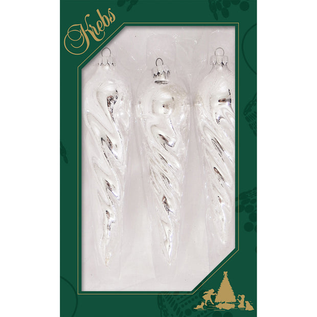 "6"" (150mm) Bright Silver Twisted Icicle Figurine Ornaments, 3/Box, 12/Case, 36 Pieces"