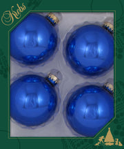 "3 1/4"" (80mm) Ball Ornaments, Gold Caps, Blue Shine, 4/Box, 12/Case, 48 Pieces"