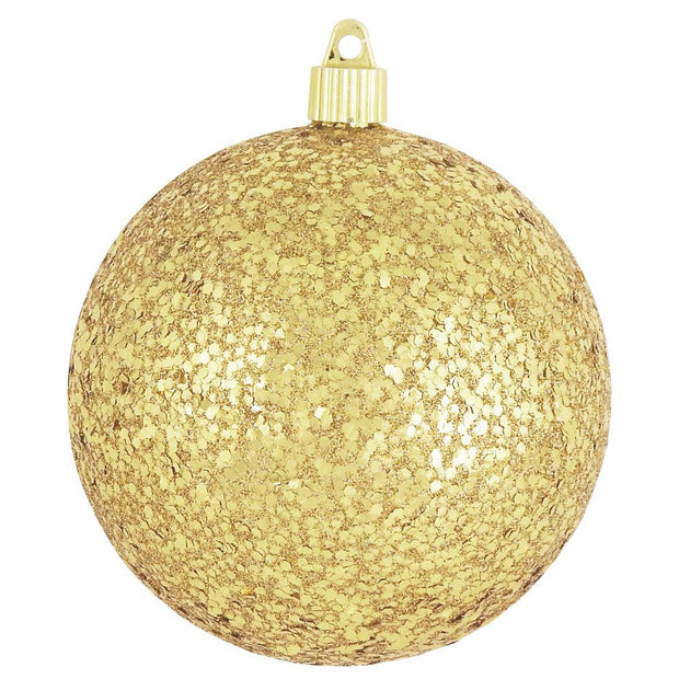 "3 1/4"" (80mm) Commercial Shatterproof Ball Ornament, Gold Glitz, Case, 80 Pieces - Christmas by Krebs Wholesale"