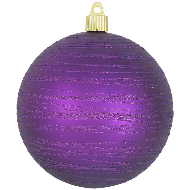 "Diva Purple 4 3/4"" (120mm) Shatterproof Ball with Purple Tangles, Case, 24 Pieces - Christmas by Krebs Wholesale"