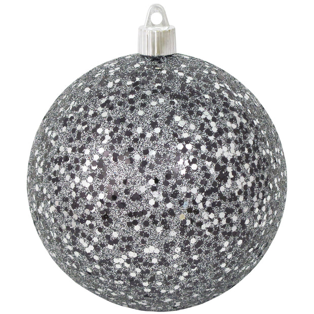 "Black / Silver Glitz 4 3/4"" (120mm) Shatterproof Ball, Case, 24 Pieces - Christmas by Krebs Wholesale"