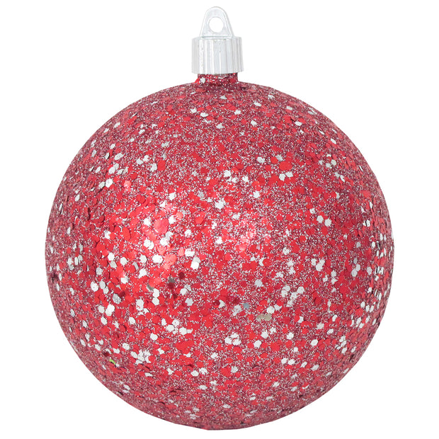 "Red / Silver Glitz 4 3/4"" (120mm) Shatterproof Ball, Case, 24 Pieces - Christmas by Krebs Wholesale"