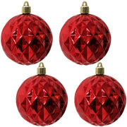 "4"" (100mm) Commercial Shatterproof Ball Ornament Shiny Sonic Red Diamond, 4 per Bag, 12 Bags per Case, 48 Pieces - Christmas by Krebs Wholesale"