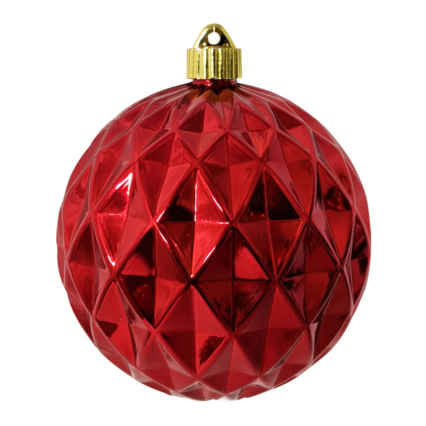 "6"" (150mm) Commercial Shatterproof Ball Ornament, Shiny Sonic Red Diamond, 2 per Bag, 6 Bags per Case, 12 Pieces - Christmas by Krebs Wholesale"