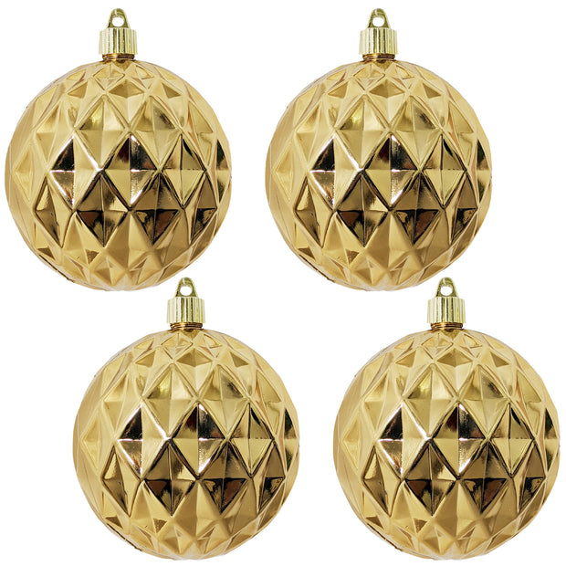 "4"" (100mm) Commercial Shatterproof Ball Ornament, Shiny Gilded Gold Diamond, 4 per Bag, 12 Bags per Case, 48 Pieces - Christmas by Krebs Wholesale"
