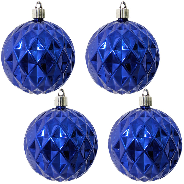 "4"" (100mm) Commercial Shatterproof Ball Ornament, Shiny Azure Blue Diamond, 4 per Bag, 12 Bags per Case, 48 Pieces - Christmas by Krebs Wholesale"