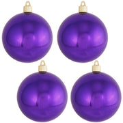 "4"" (100mm) Commercial Shatterproof Ball Ornament, Shiny Vivacious Purple, 4 per Bag, 12 Bags per Case, 48 Pieces - Christmas by Krebs Wholesale"