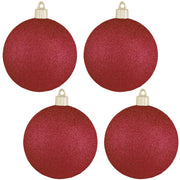 "4"" (100mm) Commercial Shatterproof Ball Ornament, Glitter Red Glitter, 4 per Bag, 12 Bags per Case, 48 Pieces - Christmas by Krebs Wholesale"